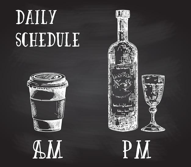 Cartaz de conceito com hábitos de consumo. café da manhã e álcool à noite. esboço desenhado de mão na lousa. xícara de café para viagem e garrafa de vinho com copo Vetor Premium