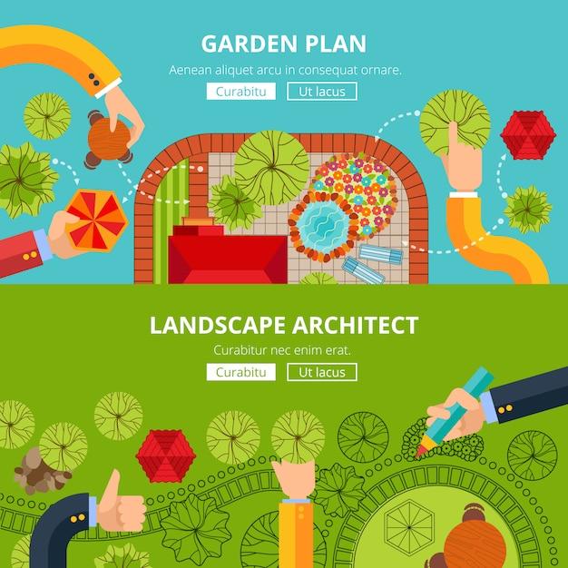 Cartaz de conceito de design de jardim paisagístico Vetor grátis