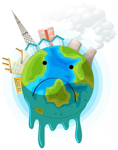 Cartaz de conceito de terra triste Vetor grátis