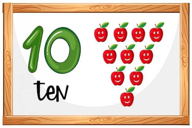 Cartaz de conceito número dez Vetor grátis