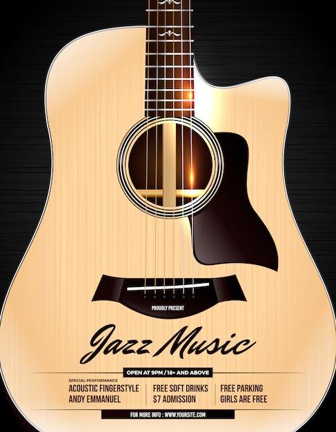 Cartaz de concerto de jazz de guitarra acústica desconectado Vetor Premium