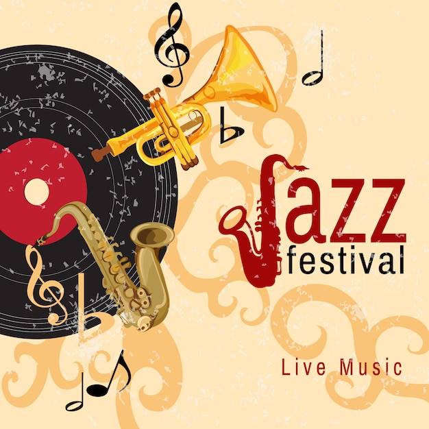 Cartaz de concerto de jazz Vetor Premium