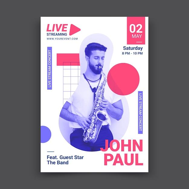 Cartaz de concerto de música ao vivo Vetor grátis