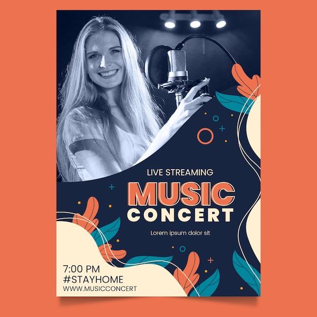 Cartaz de concerto de música de transmissão ao vivo Vetor grátis