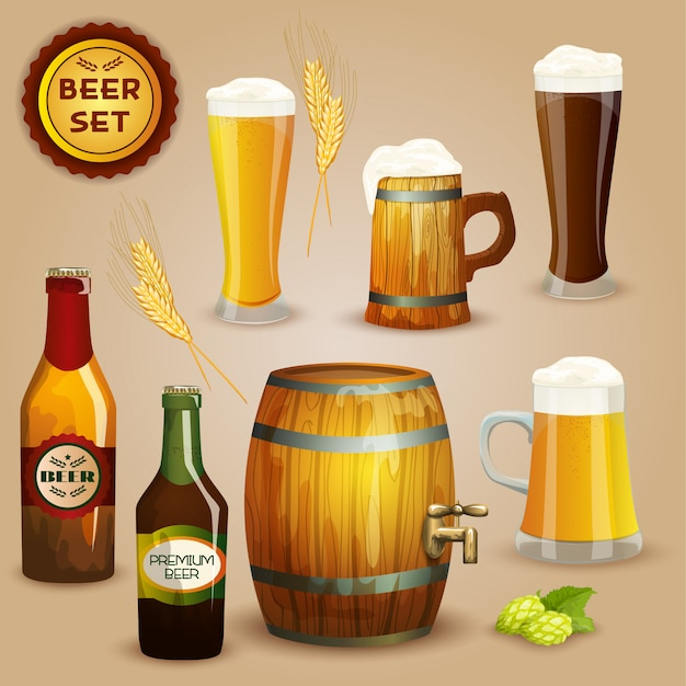 Cartaz de conjunto de composição de ícones de cerveja Vetor grátis
