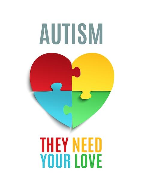 Cartaz de conscientização do autismo ou modelo de folheto. Vetor Premium