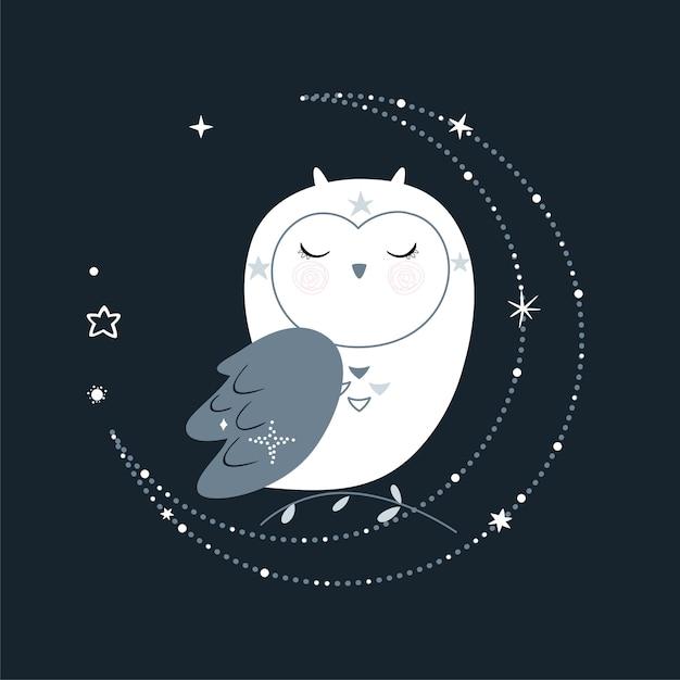 Cartaz de conto de fadas fofo com elementos de design, estrelas e coruja do espaço. ilustração. Vetor Premium