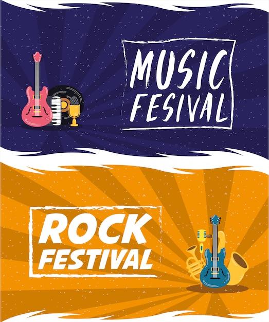 Cartaz de convite de entretenimento festival de música Vetor Premium
