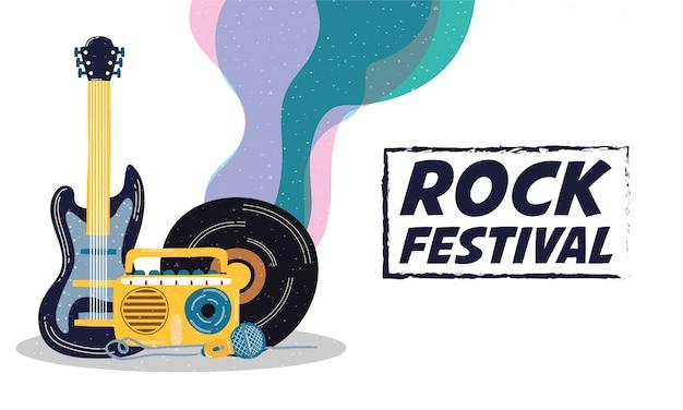 Cartaz de convite de entretenimento festival de rock Vetor Premium