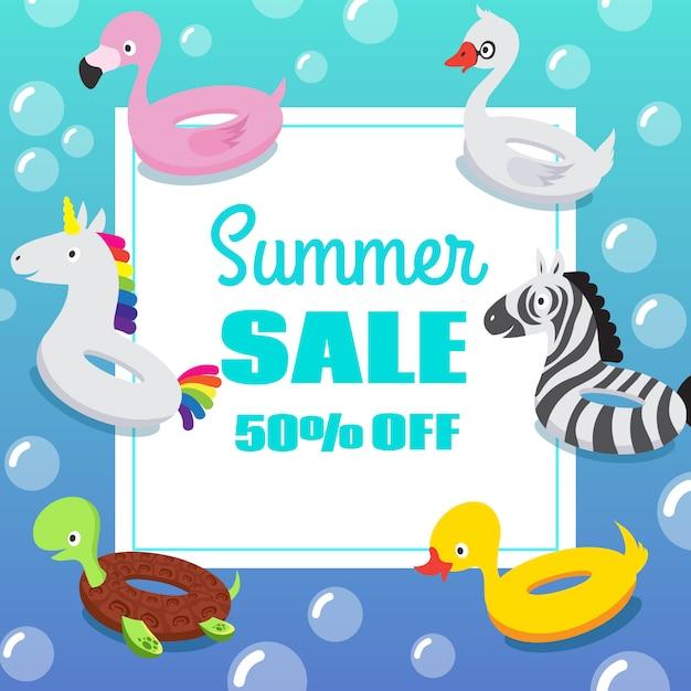 Cartaz de convite de festa de piscina de crianças com anéis de bóia de borracha animal inflável nadar Vetor Premium