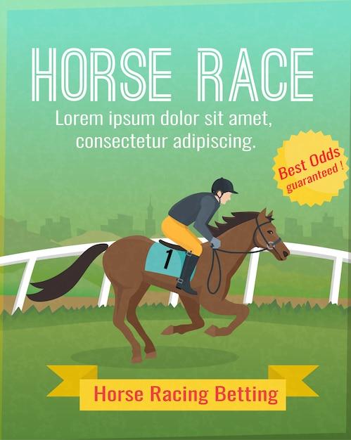 Cartaz de cor com título mostrando cavalo equitação esporte Vetor grátis