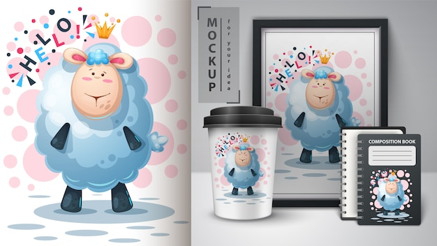 Cartaz de cordeiro princesa e merchandising Vetor Premium
