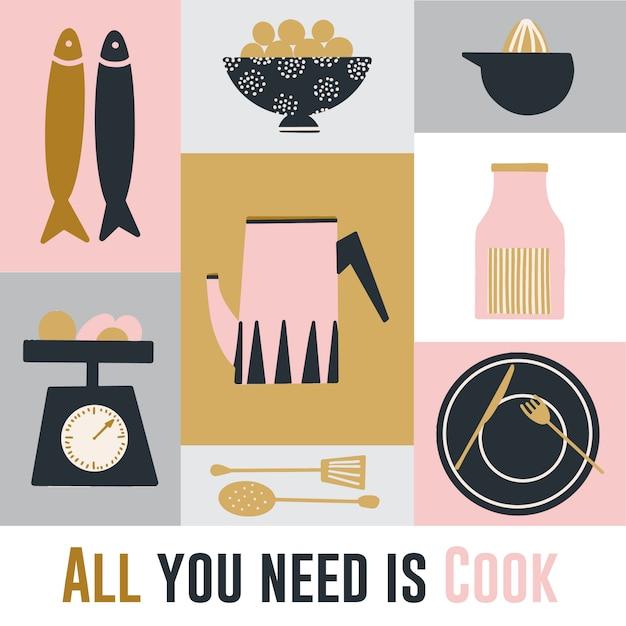 Cartaz de cozinha desenhada mão gira Vetor Premium