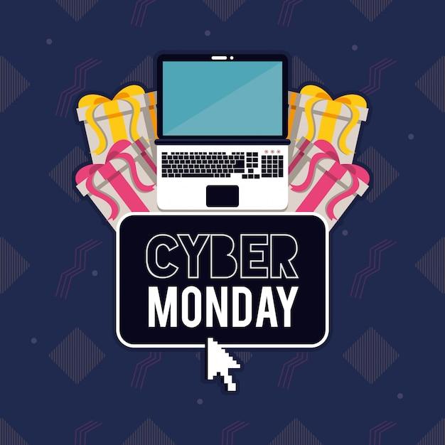 Cartaz de cyber segunda-feira dia com laptop Vetor Premium
