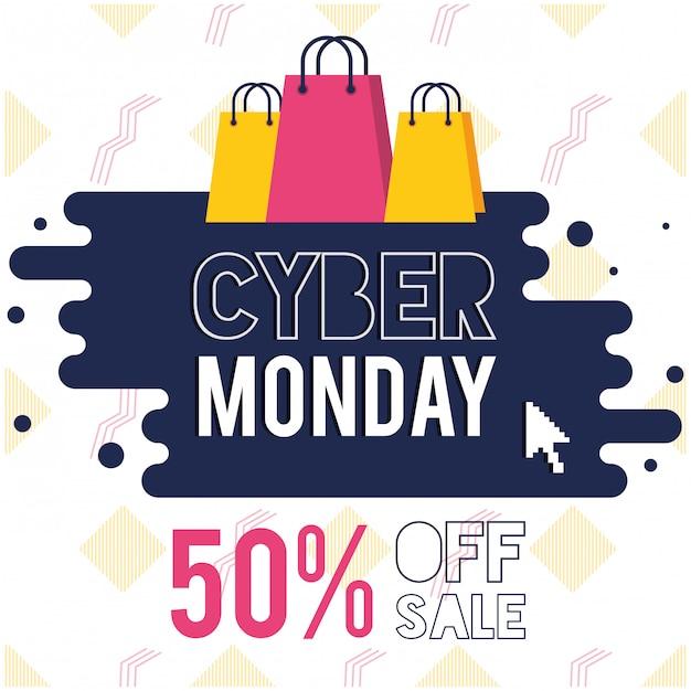 Cartaz de cyber segunda-feira dia com sacos de compras Vetor Premium