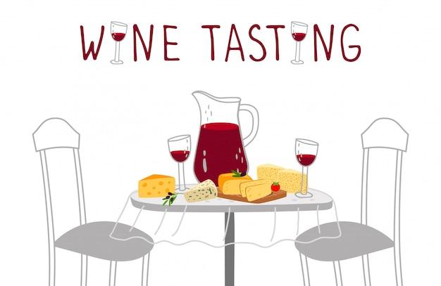 Cartaz de degustação de vinhos. vinho tinto, ilustração vetorial de queijo. degustação de bebidas artesanais e queijos de fazenda Vetor Premium