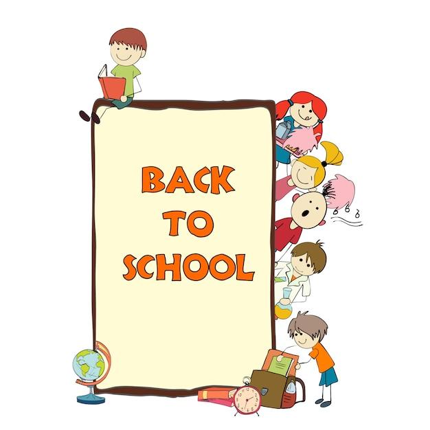 Cartaz de desenho de escola de crianças Vetor Premium