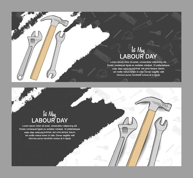 Cartaz de desenho de vetor do dia do trabalho Vetor Premium