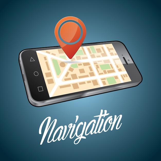 Cartaz de design de dispositivo de smartphone com ilustração de objeto digital e navegação de palavras Vetor grátis