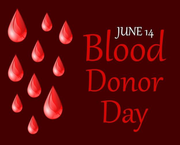 Cartaz de dia de doador de sangue do mundo Vetor Premium