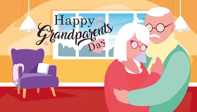 Cartaz de dia dos avós feliz com o casal abraçado Vetor Premium