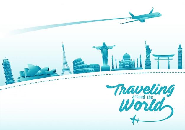 Cartaz de dia mundial do turismo com elementos de monumentos famosos do mundo e destinos turísticos Vetor Premium