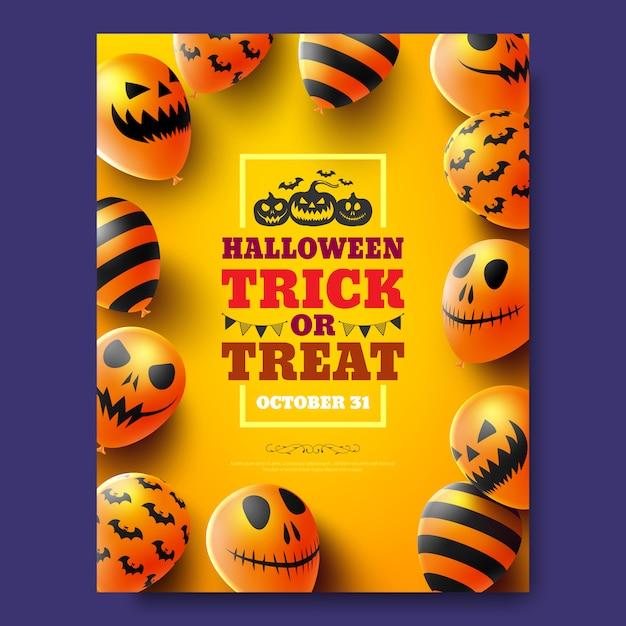 Cartaz de doces ou travessuras de halloween ou panfleto com balões de ar assustador. convite para festa Vetor Premium