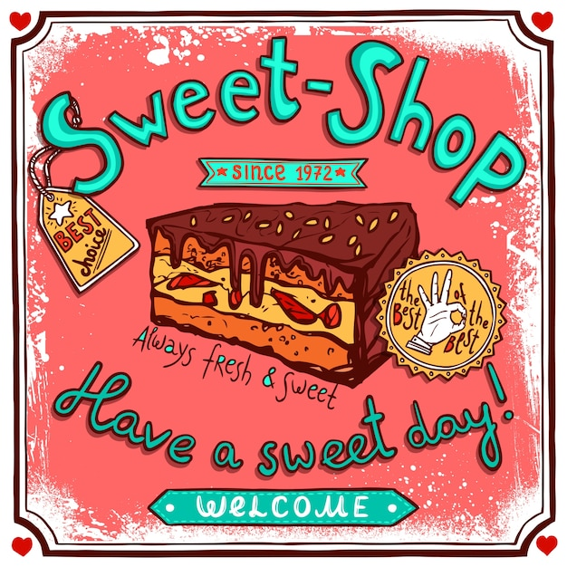 Cartaz de doces vintage sweetshop Vetor grátis