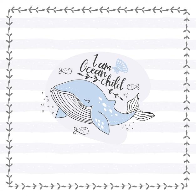 Cartaz de doodle baleia bonito. mão desenhada animal do oceano Vetor Premium