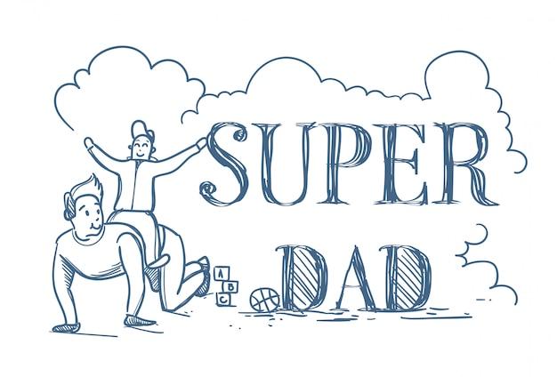 Cartaz de doodle super pai com filho de equitação homem nas costas Vetor Premium