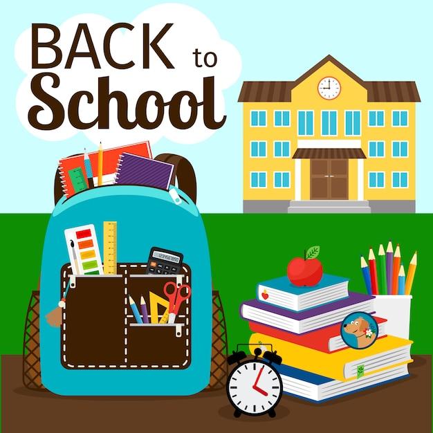 Cartaz de educação primária com a construção, mochila e apple. voltar para ilustração vetorial de escola Vetor Premium