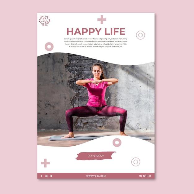 Cartaz de equilíbrio corporal de ioga Vetor grátis