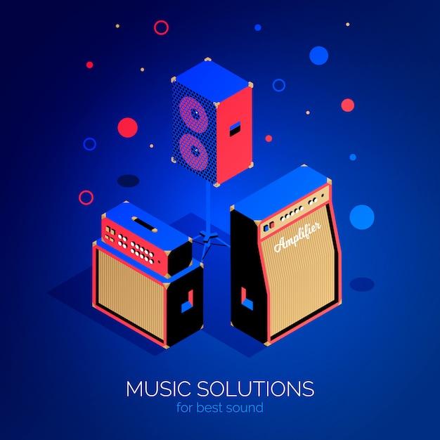 Cartaz de equipamento de música isométrica Vetor Premium