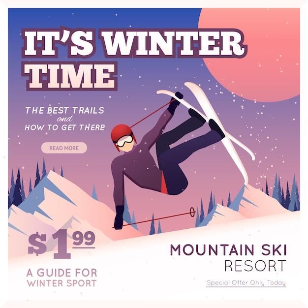 Cartaz de esporte de inverno Vetor grátis