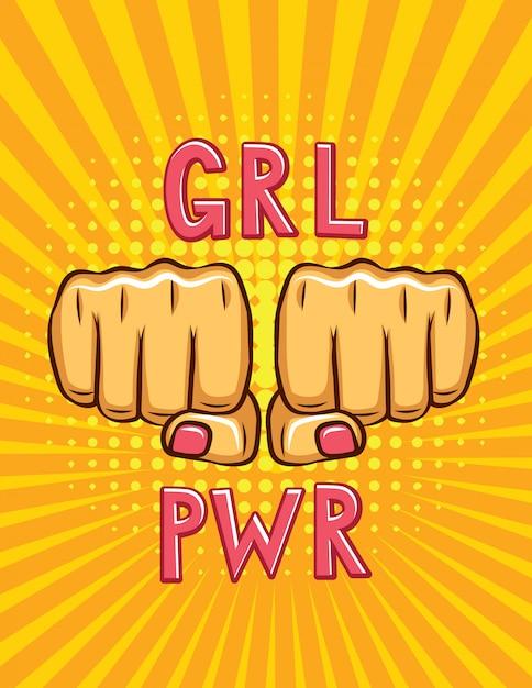 Cartaz de estilo de pop art de poder feminino Vetor Premium