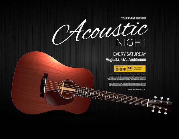 Cartaz de evento de desempenho ao vivo de noite acústico Vetor Premium