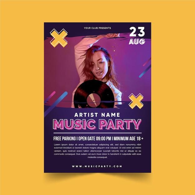 Cartaz de evento de música com foto Vetor grátis