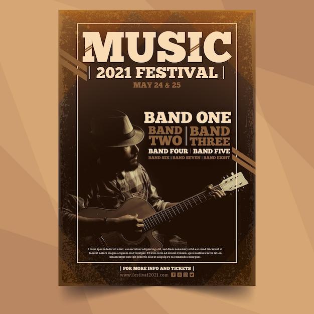 Cartaz de evento de música com imagem Vetor Premium