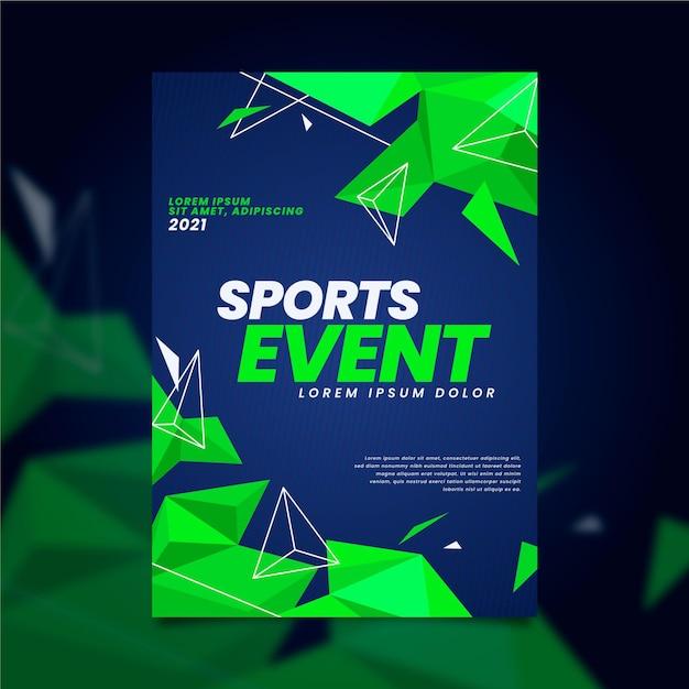 Cartaz de evento esportivo com formas geométricas de néon verde Vetor grátis