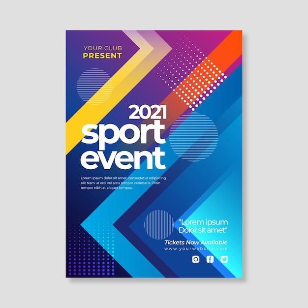 Cartaz de evento esportivo de 2021 com formas geométricas Vetor grátis