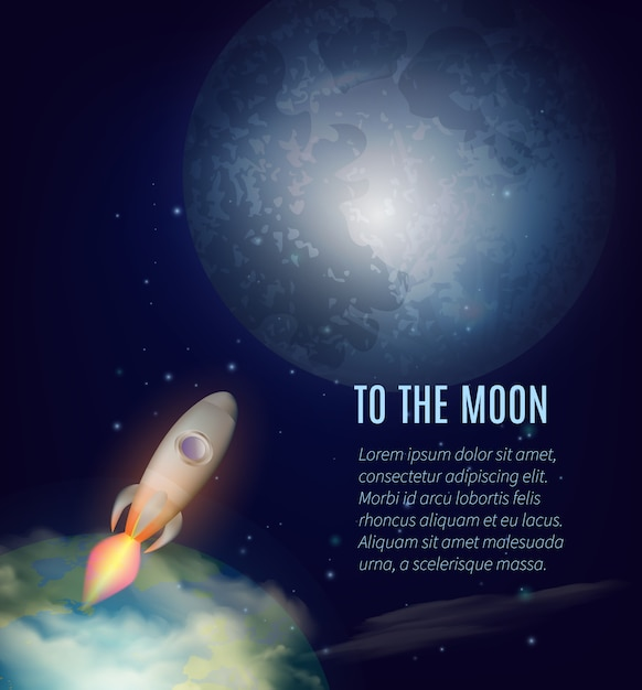 Cartaz de exploração da lua Vetor grátis