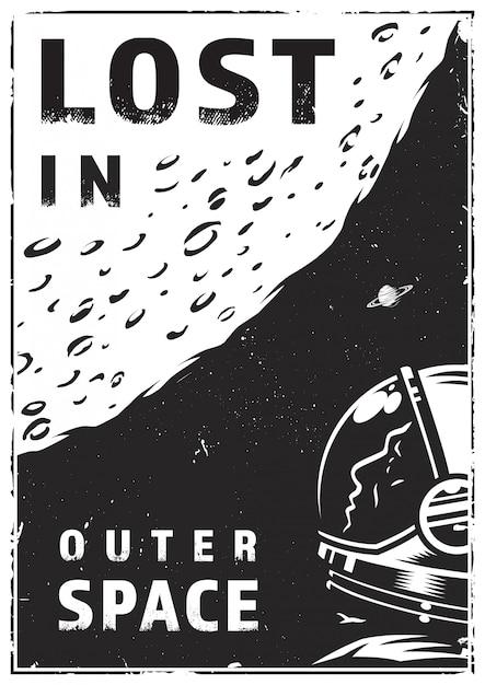 Cartaz de exploração de galáxia vintage Vetor grátis