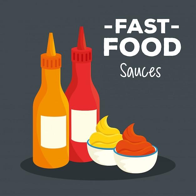 Cartaz de fast food com molhos deliciosos Vetor Premium