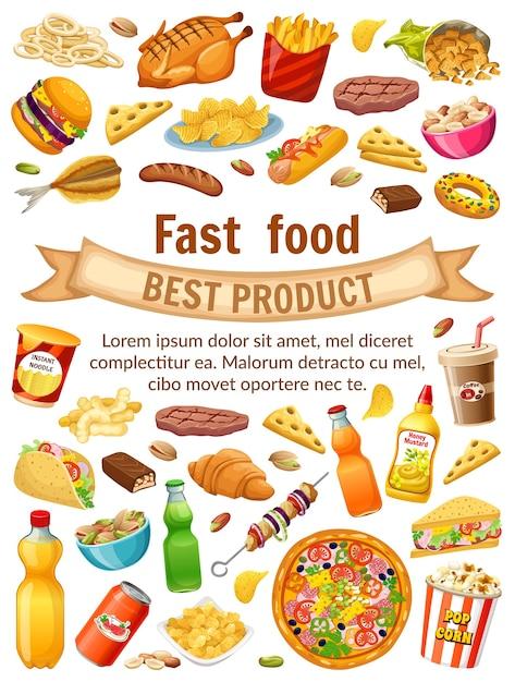 Cartaz de fast food. Vetor grátis