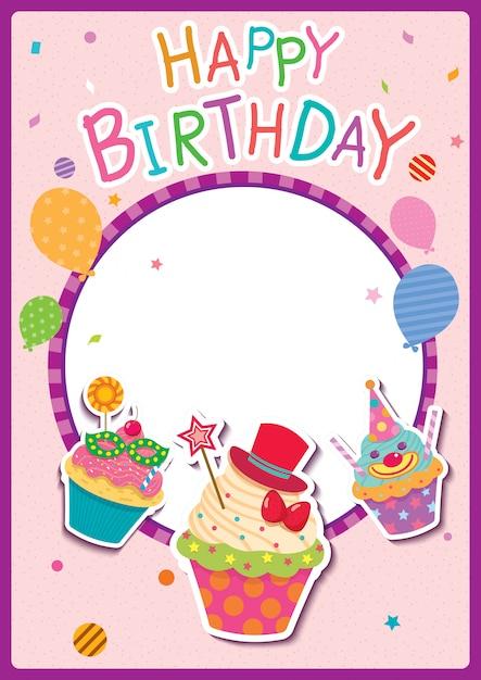 Cartaz de feliz aniversário Vetor Premium