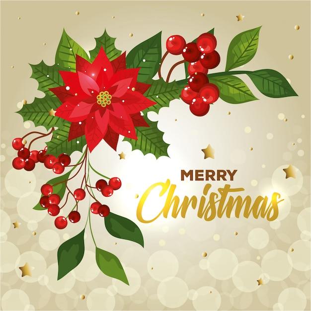 Cartaz de feliz natal com flores e decoração Vetor grátis