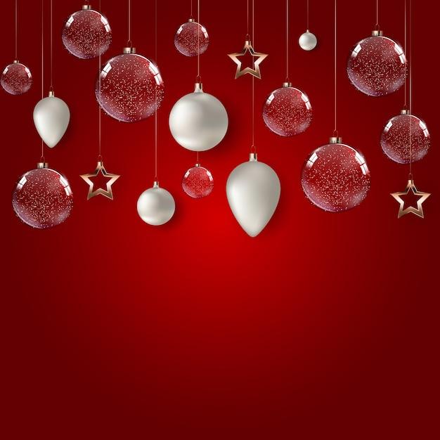 Cartaz de feliz natal e feliz ano novo com bolas de vidro brilhante. Vetor Premium