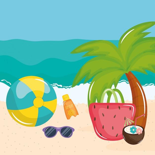 Cartaz de férias de verão com cena de praia e ícones Vetor Premium