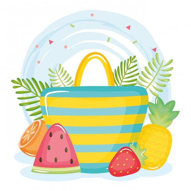 Cartaz de férias de verão com saco de mão e ícones Vetor Premium