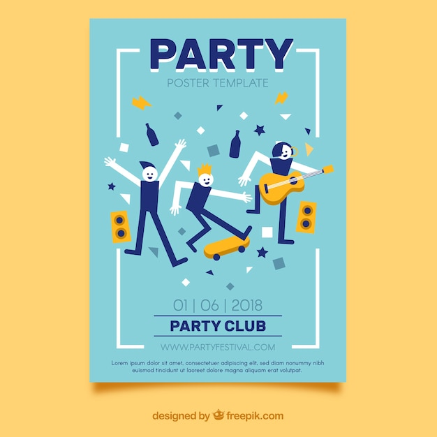 Cartaz de festa com pessoas dançando Vetor grátis